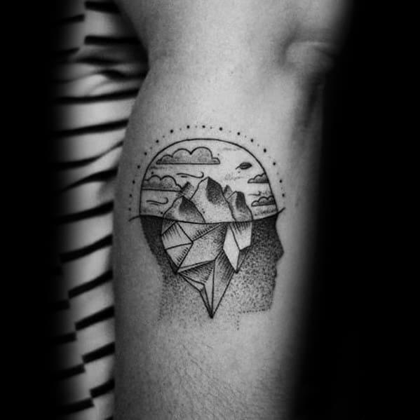 Mens Tattoo With Iceberg Design