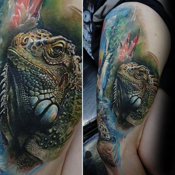 Mens Tattoo With Iguana Design