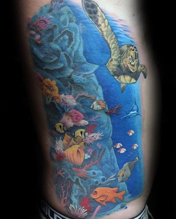 Mens Tattoo With Incredible Rib Cage Side Turtle And Coral Reef Underwater Design