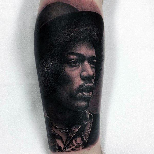Mens Tattoo With Jimi Hendrix Portrait Design