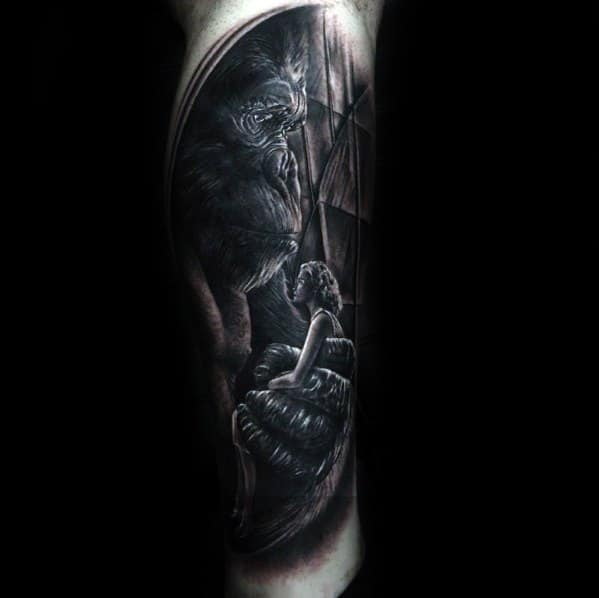 Mens Tattoo With King Kong Design