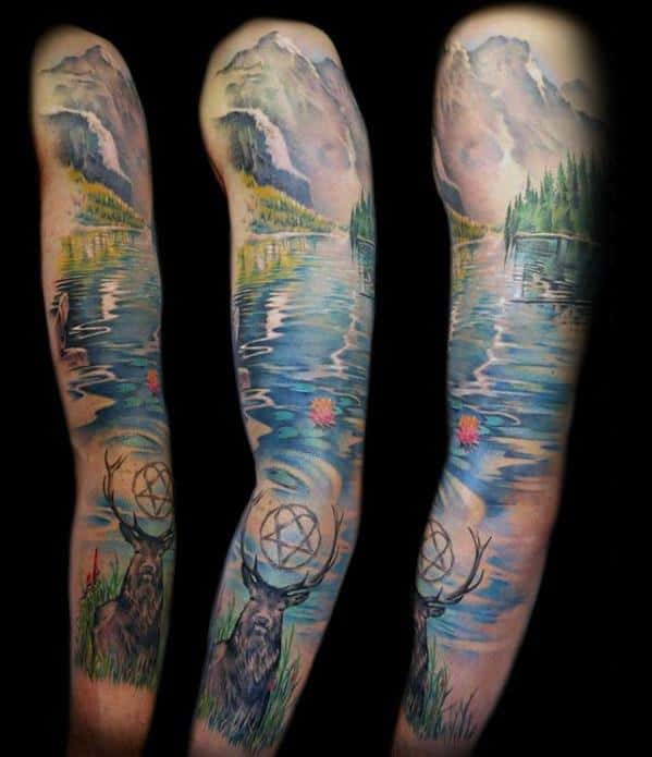 Mens Tattoo With Lake Design Full Arm Nature Sleeve