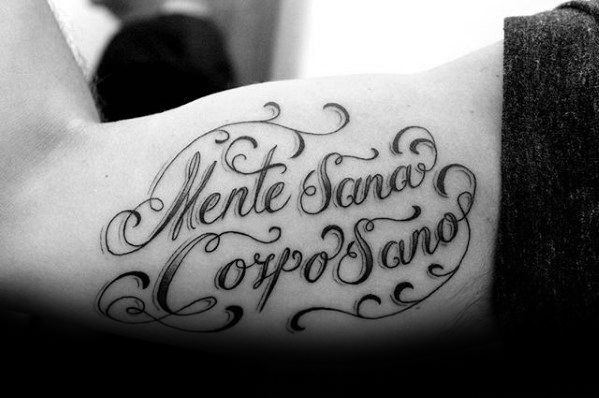 Mens Tattoo With Latin Design Inner Arm Bicep