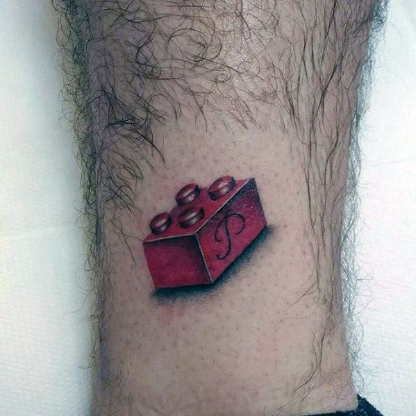 Mens Tattoo With Lego Design