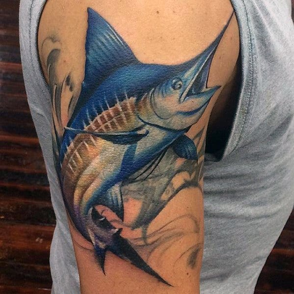 Mens Tattoo With Marlin Design On Arm