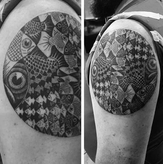 Mens Tattoo With Mc Escher Design