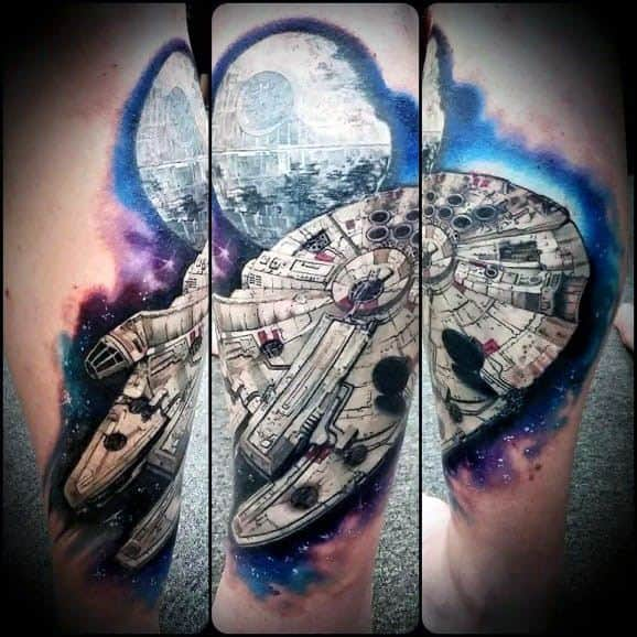 Mens Tattoo With Millennium Falcon Design