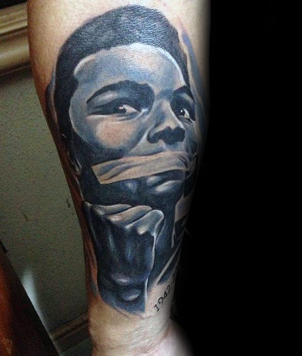 Mens Tattoo With Muhammad Ali Design