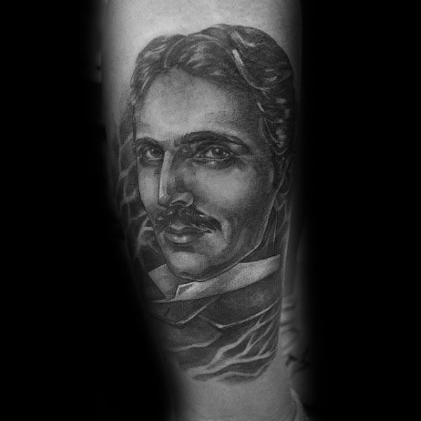 Mens Tattoo With Nikola Tesla Design