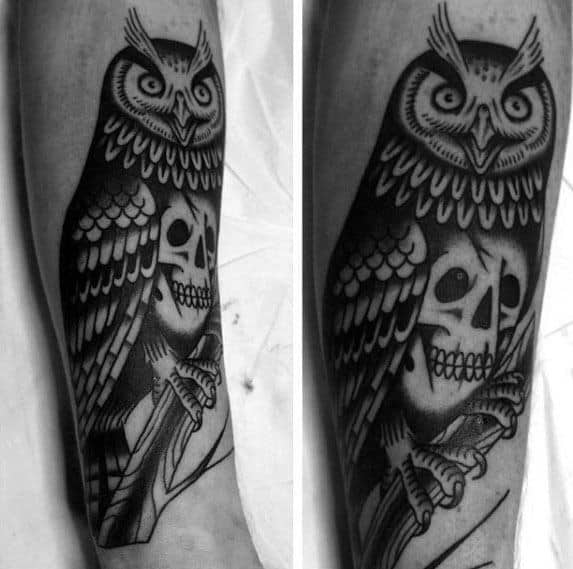 Mens Tattoo With Owl Skull Design