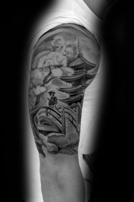 Mens Tattoo With Pagoda Design