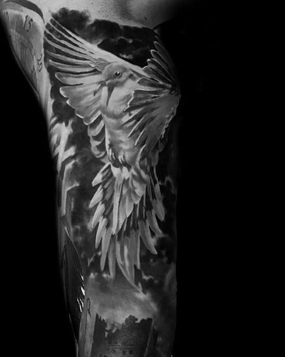 Mens Tattoo With Pigeon Design