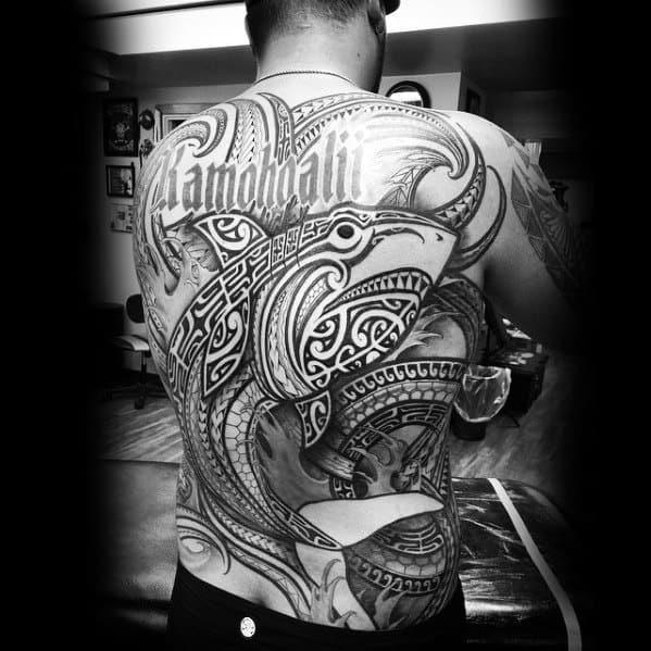 Mens Tattoo With Polynesian Shark Design