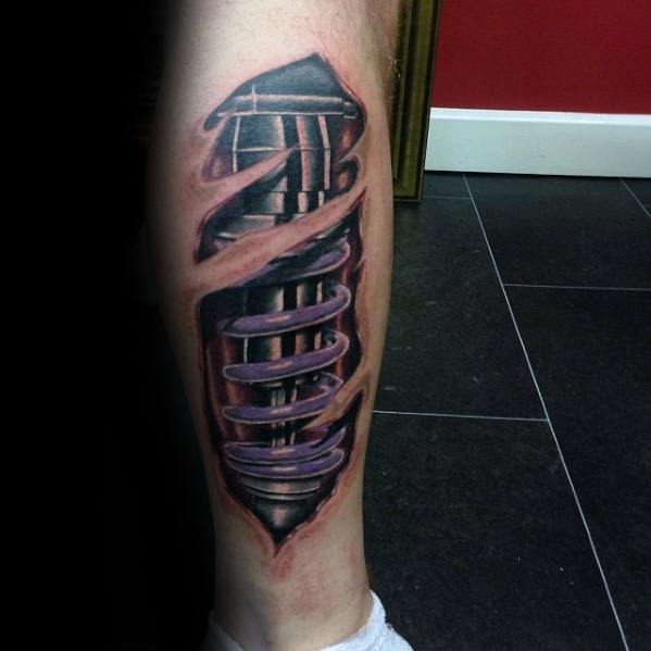 Mens Tattoo With Purple Suspension Design On Leg