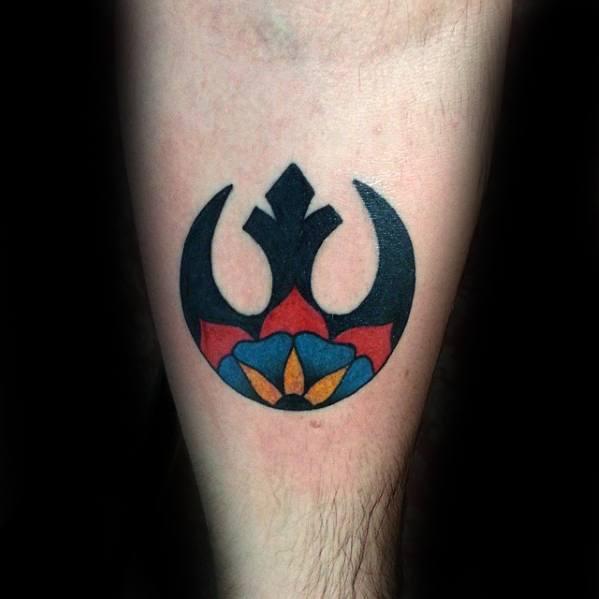 Mens Tattoo With Rebel Alliance Design On Leg