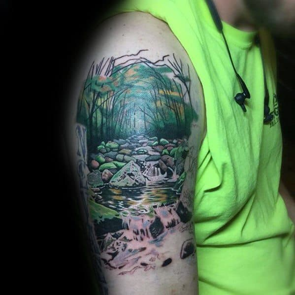 Mens Tattoo With River Design Arm