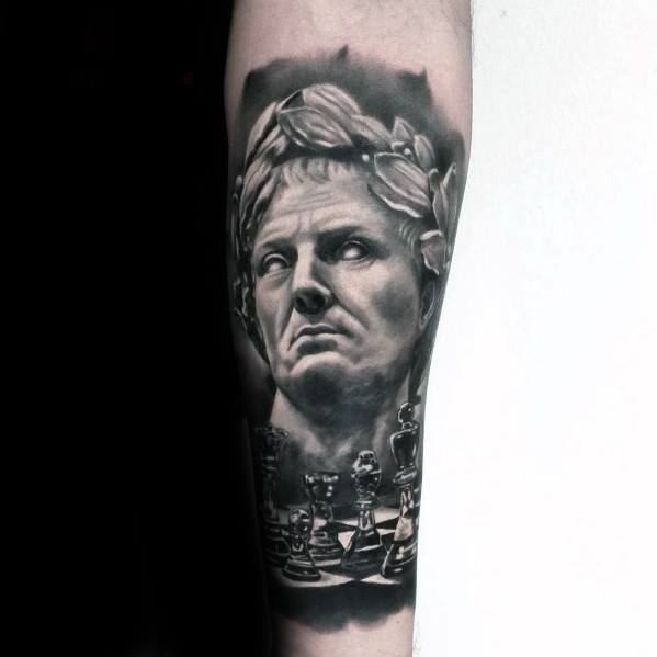 Mens Tattoo With Roman Statue Design