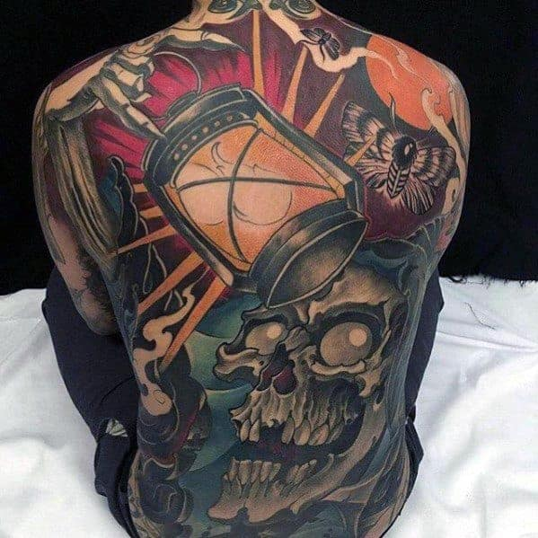 mens-tattoo-with-skull-and-lantern-back-design