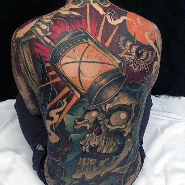 Mens Tattoo With Skull And Lantern Back Design