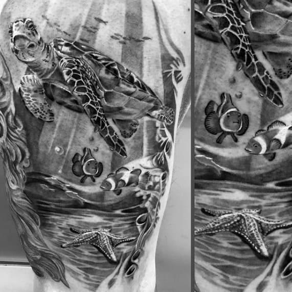 Mens Tattoo With Starfish Design