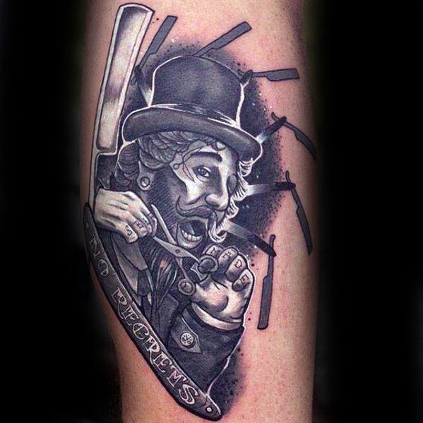 Mens Tattoo With Top Hat Straight Razor Barber Leg Design