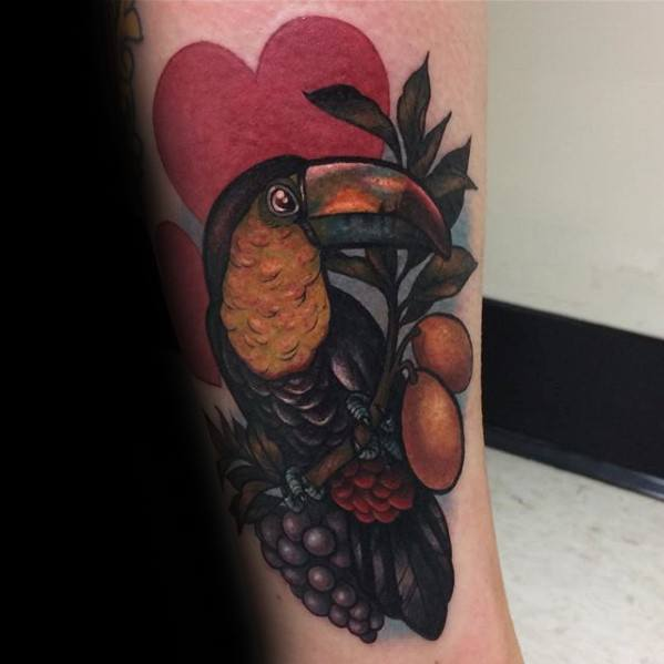 Mens Tattoo With Toucan Design