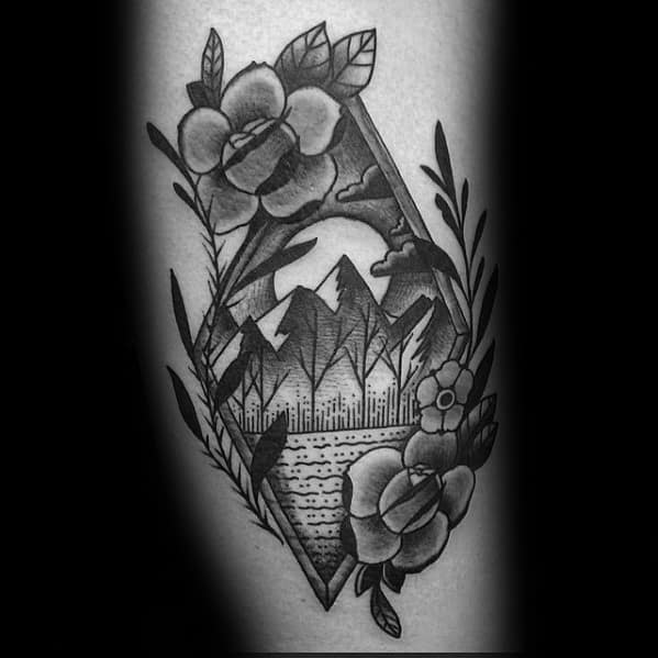 Mens Tattoo With Traditional Mountain Design