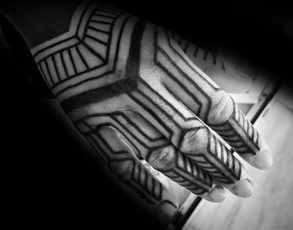 Mens Tattoo With Tribal Lines Geometric Hand Design