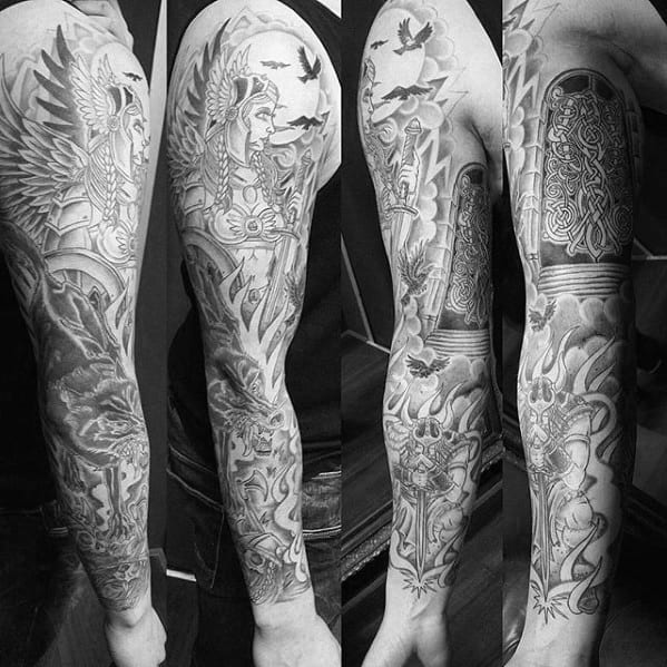 Mens Tattoo With Valkyrie Design Full Arm