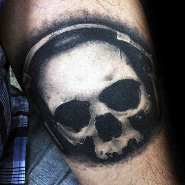Mens Tattoo With White Ink Skull Headphones Design