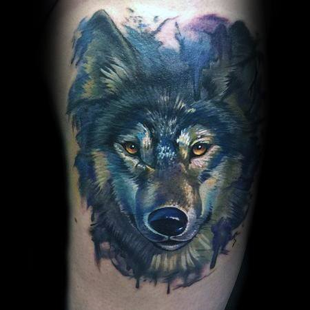 Mens Tattoo With Wolf Watercolor Design