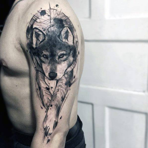 Mens Tattoo Wolf Watercolor Design On Arms