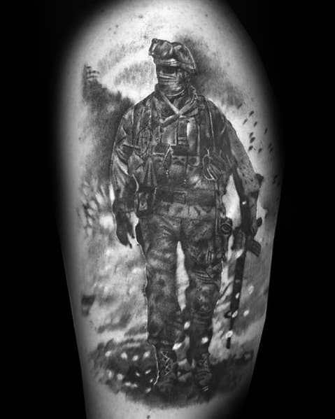 Mens Tattoos Call Of Duty On Thigh