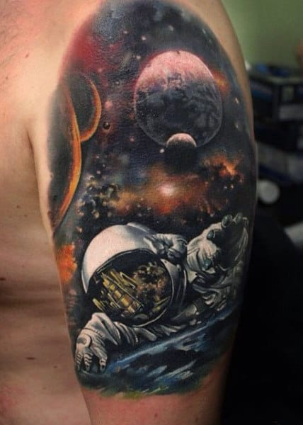 Men's Tattoos Galaxy On Arm