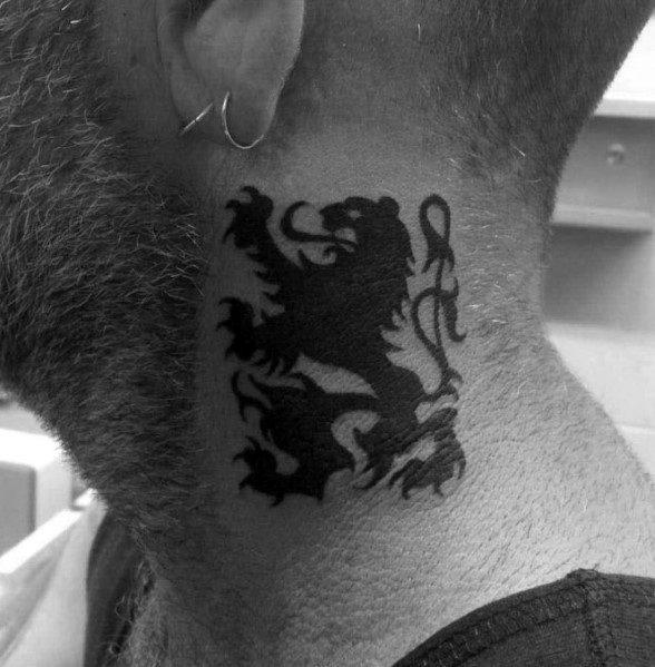 Mens Tattoos Lion Neck