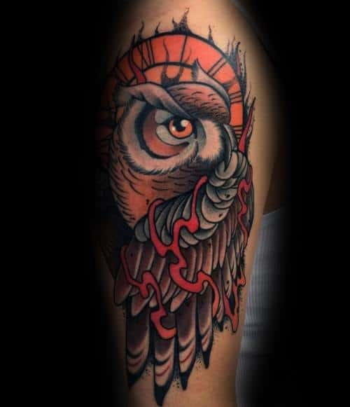 Mens Tattoos Neo Traditional Owl