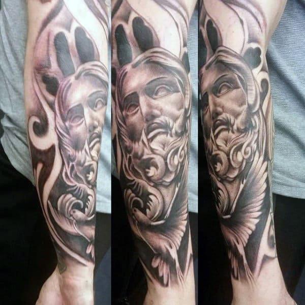 Mens Tattoos Of Doves Half Sleeve