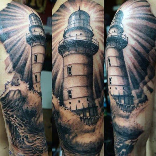 Mens Tattoos Of Lighthouses