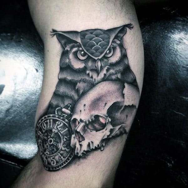 Men's Tattoos Of Owls With Clock And Skull