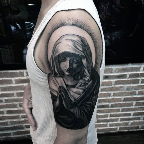 Mens Tattoos Of Praying Hands On Upper Arm