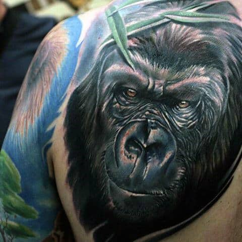Mens Tattoos Of Silverback Gorilla