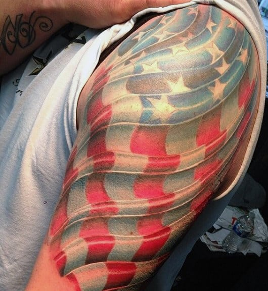 Mens Tattoos Of The American Flag In Color On Arm