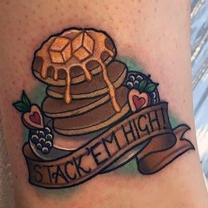 40 Pancake Tattoo Ideas For Men – Stacked Hotcake Designs