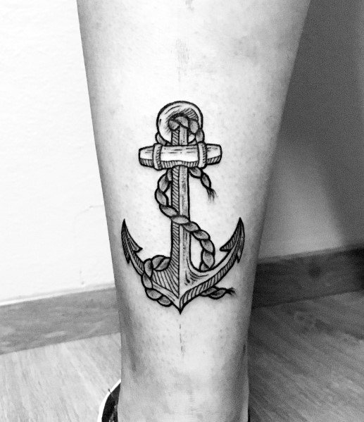 Mens Tattoos Simple Anchor