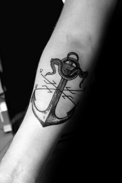 Mens Tattoos Small Compass With Anchor Design
