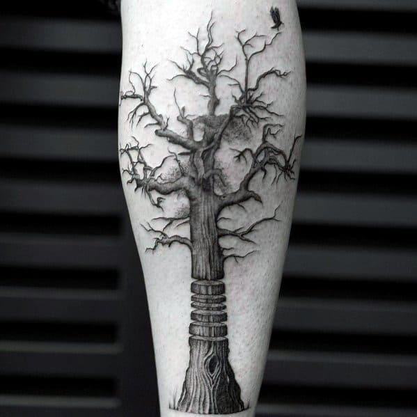 Mens Tattoos Tree Leg