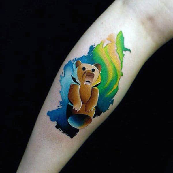 Mens Teddy Watercolor Tattoo On Calves
