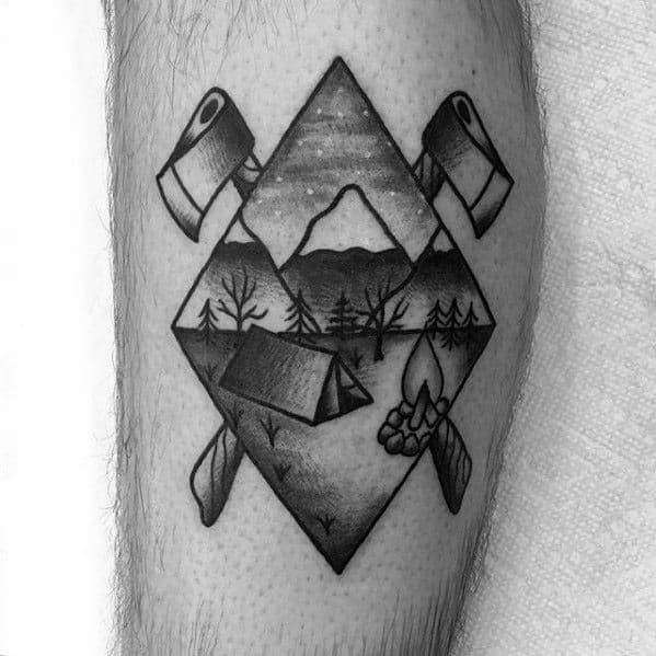Mens Tent Axe Side Of Leg Traditional Tattoo Design Ideas