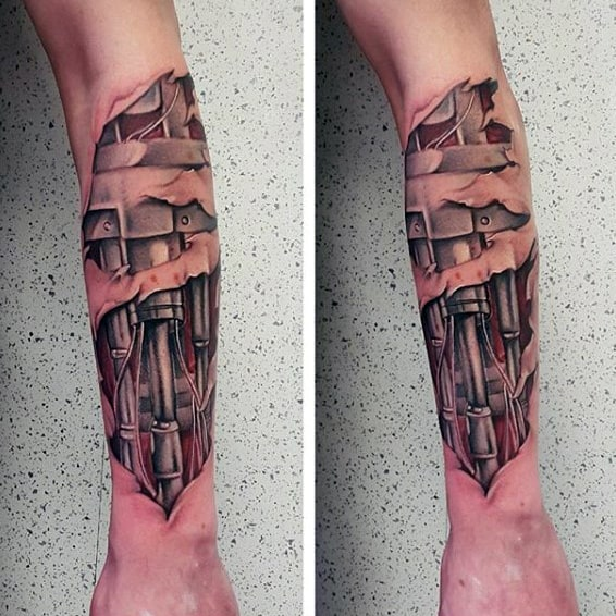 Mens Terminator Cyborg Arm Tattoos With Ripped Skin Design