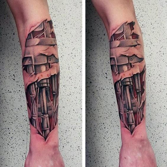 Mens Terminator Cyborg Arm Tattoos With Ripped Skin Design